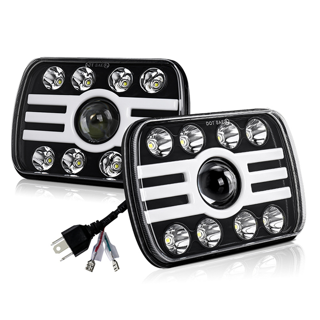 7x6 (5x7) Dual Color Angle Eyes 8 Light Type Led Headlights JG-T002H
