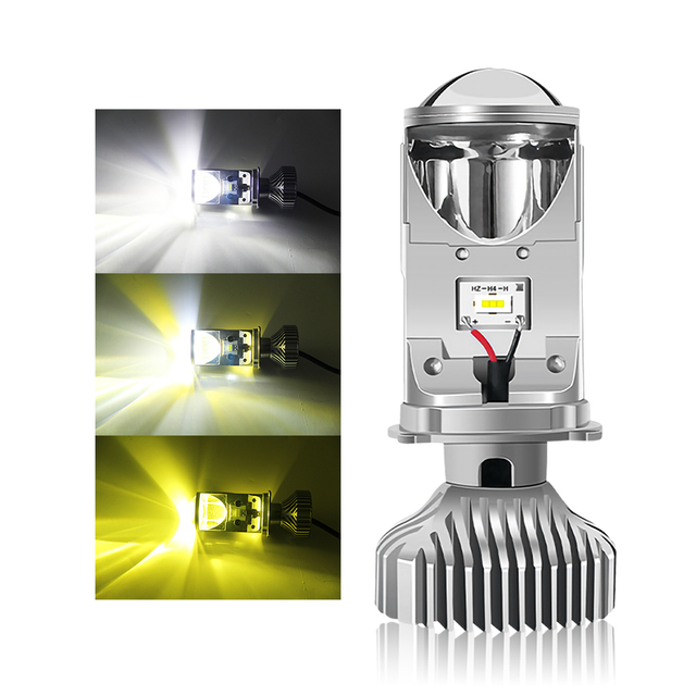 H4 Three Colors LED Headlight Bulb with Mini Projector Lens JG-Y6
